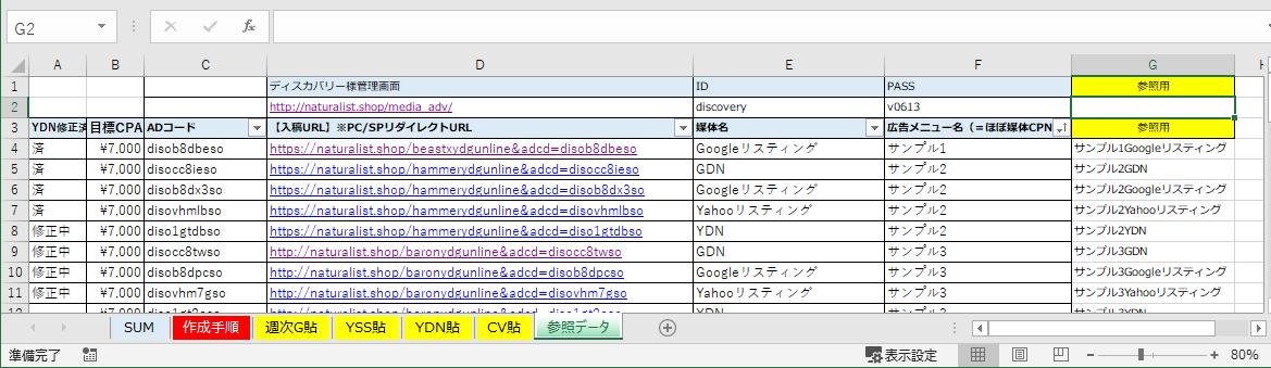 VLOOKUP関数で参照しているデータシート