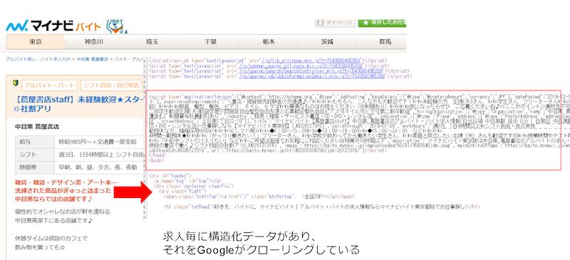 マイナビの求人ページの構造化データ